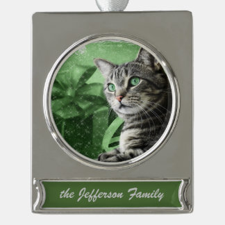 APAL - Christmas Silver Tabby Cat | Custom Year Silver Plated Banner Ornament