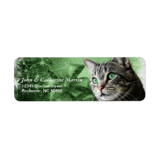 APAL - Christmas Silver Tabby Cat Return Address Label