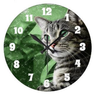 APAL - Gato de Tabby de plata del navidad Reloj De Pared