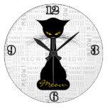 APAL: Maullido del gato negro Reloj De Pared