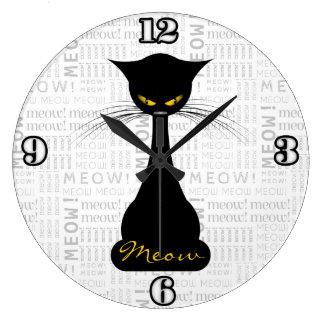 APAL: Maullido del gato negro Reloj Redondo Grande