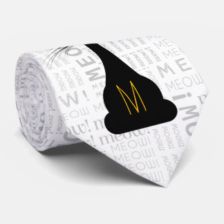APAL: Monogrammed Black Cat Neck Tie