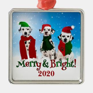 APAL - Perros dálmatas del navidad en la nieve Adorno Cuadrado Plateado