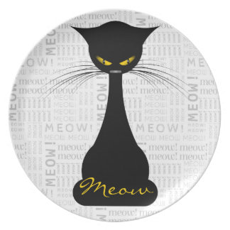 APAL: Personalizado del maullido del gato negro Platos De Comidas