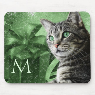 APAL - Silver Tabby Cat in Green with Monogram Mouse Pad