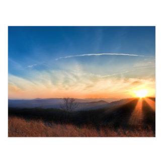 Apalache y puesta del sol de Blue Ridge Mountains Postales