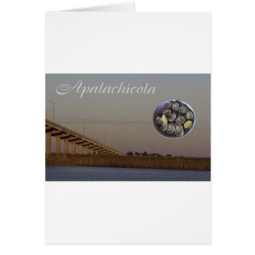 Apalachicola con el puente y las ostras de Juan Go Tarjetas
