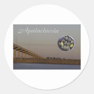 Apalachicola con el puente y las ostras de Juan Pegatina Redonda