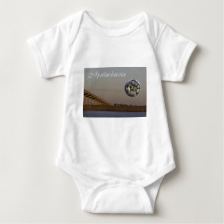 Apalachicola with John Gorrie Bridge and oysters Baby Bodysuit