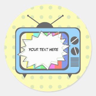 Aparato de TV Retro del azul Etiquetas Redondas
