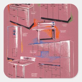 Aparatos electrodomésticos de los suburbios del pegatinas cuadradases