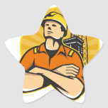 Aparejo costero del trabajador del petróleo y gas calcomanía forma de estrella