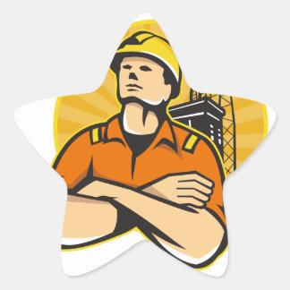 Aparejo costero del trabajador del petróleo y gas pegatina en forma de estrella