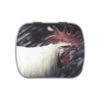 apariencia vintage blanca de la cabeza del gallo frascos de caramelos