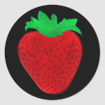 Apariencia vintage de la fresa pegatinas redondas