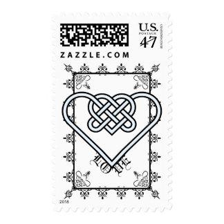 Apariencia vintage del amor timbres postales