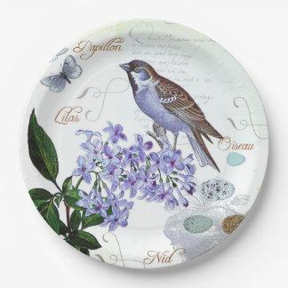 Apariencia vintage floral del collage del pájaro plato de papel de 9 pulgadas