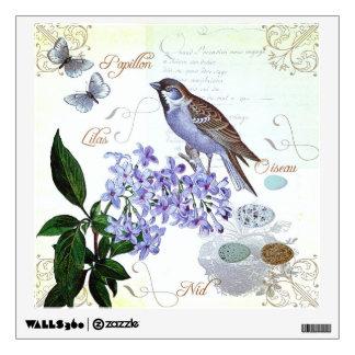 Apariencia vintage floral del collage del pájaro vinilo