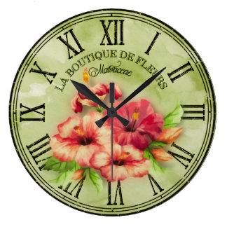 "Apariencia vintage redonda ""hibisco"" Var01 del Reloj Redondo Grande"