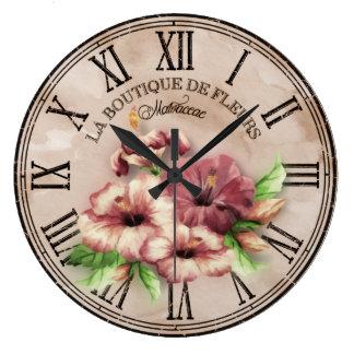 "Apariencia vintage redonda ""hibisco"" Var02 del Reloj Redondo Grande"