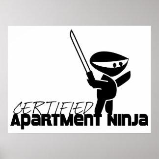 Apartamento certificado Ninja divertido Póster