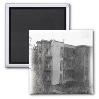 Apartment Building 2 Inch Square Magnet