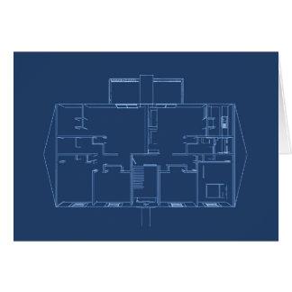 Apartment Building / House: Blue Print Card