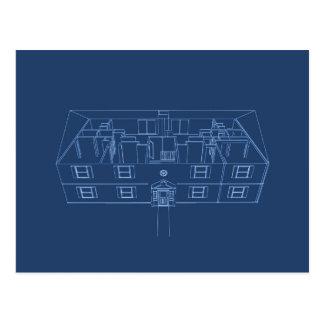 Apartment Building / House: Blue Print Postcard