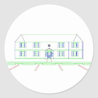 Apartment Building / House: Marker Drawing Classic Round Sticker