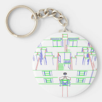 Apartment Building / House: Marker Drawing Basic Round Button Keychain
