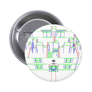 Apartment Building / House: Marker Drawing Pinback Button