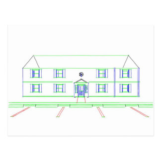 Apartment Building / House: Marker Drawing Postcard