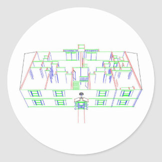 Apartment Building / House: Marker Drawing Round Stickers