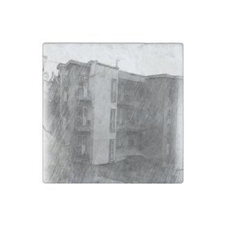 Apartment Building Stone Magnet