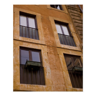 Apartment windows, Rome, Italy Poster