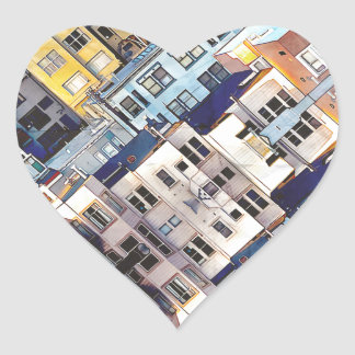Apartments In The City Heart Sticker