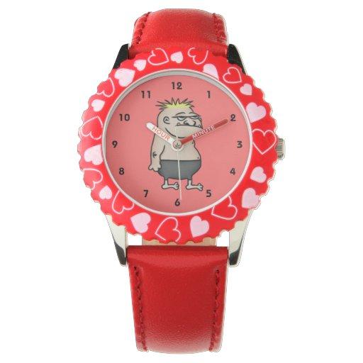 Apathetic Cartoon Guy Wrist Watches