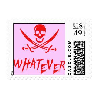 """Apathetic Roger"" Pirate {Pink?!?beard} Stamp"