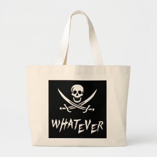 """Apathetic Roger"" Pirate {Whitebeard} Large Tote Bag"