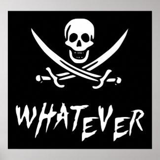 """Apathetic Roger"" Pirate {Whitebeard} Poster"