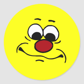 Apathetic Smiley Face Grumpey Classic Round Sticker