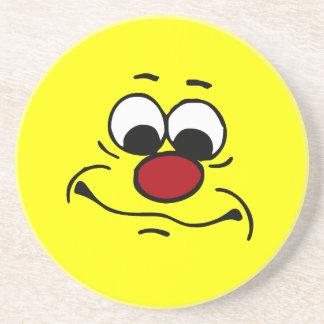 Apathetic Smiley Face Grumpey Drink Coaster
