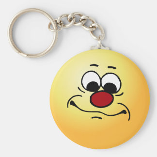 Apathetic Smiley Face Grumpey Keychain