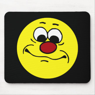 Apathetic Smiley Face Grumpey Mouse Pad