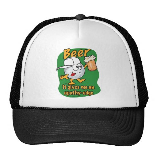 Apathy edge beer drinking golf ball trucker hat