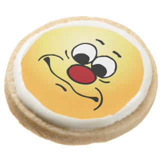 Apathy Face: Mistaken for someone who cares Round Shortbread Cookie