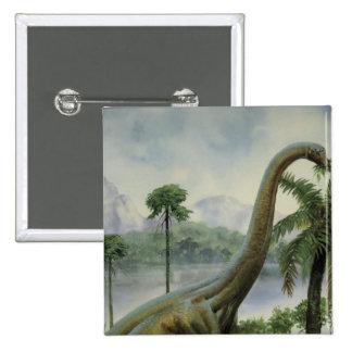 Apatosaurus (Brontosaurus) que come el ejemplo Pin Cuadrado
