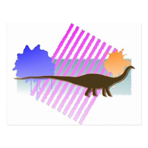 Apatosaurus Brown con la parrilla rosada Postal