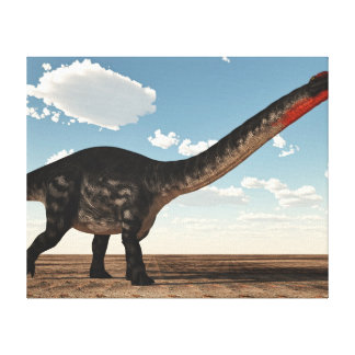Apatosaurus dinosaur in the desert - 3D render Canvas Print