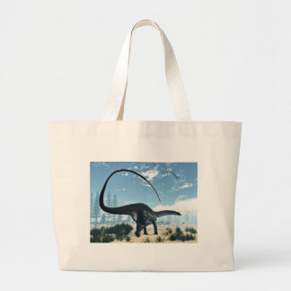 Apatosaurus dinosaur in the desert - 3D render Large Tote Bag